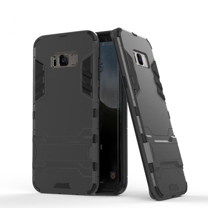 COOVY® Cover für Samsung Galaxy S8 SM-G950F / SM-G950FD Bumper Case, Doppelschicht aus Plastik + TPU-Silikon, extra stark, Anti-Shock, Standfunktion