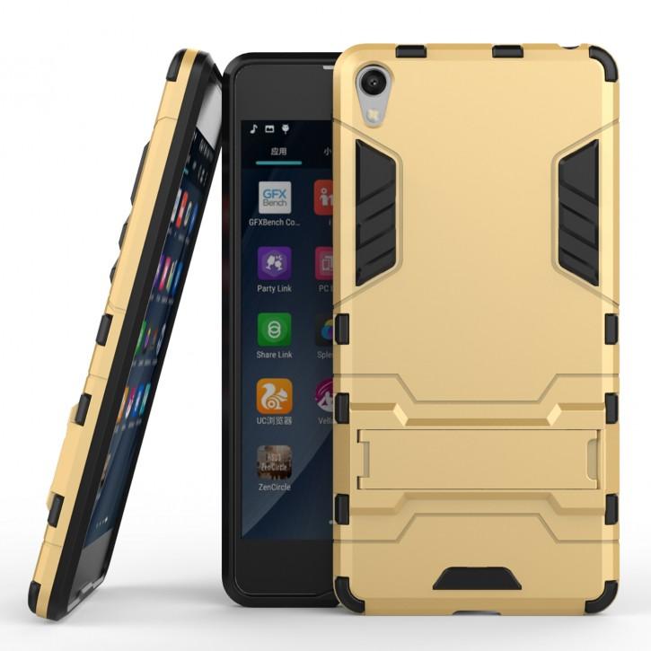 COOVY® Cover für Sony Xperia E5 Bumper Case, Doppelschicht aus Plastik + TPU-Silikon, extra stark, Anti-Shock, Standfunktion