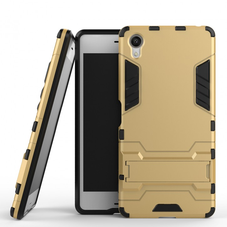 COOVY® Cover für Sony Xperia X Bumper Case, Doppelschicht aus Plastik + TPU-Silikon, extra stark, Anti-Shock, Standfunktion