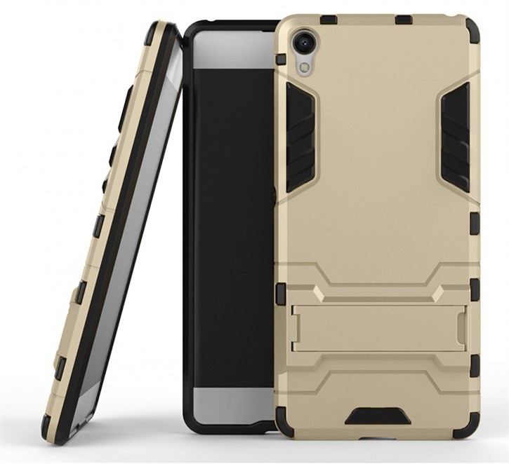 COOVY® Cover für Sony Xperia XA Bumper Case, Doppelschicht aus Plastik + TPU-Silikon, extra stark, Anti-Shock, Standfunktion