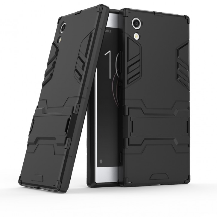 COOVY® Cover für Sony Xperia XA1 Bumper Case, Doppelschicht aus Plastik + TPU-Silikon, extra stark, Anti-Shock, Standfunktion