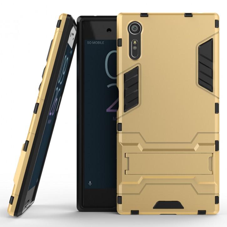 COOVY® Cover für Sony Xperia XZ Bumper Case, Doppelschicht aus Plastik + TPU-Silikon, extra stark, Anti-Shock, Standfunktion