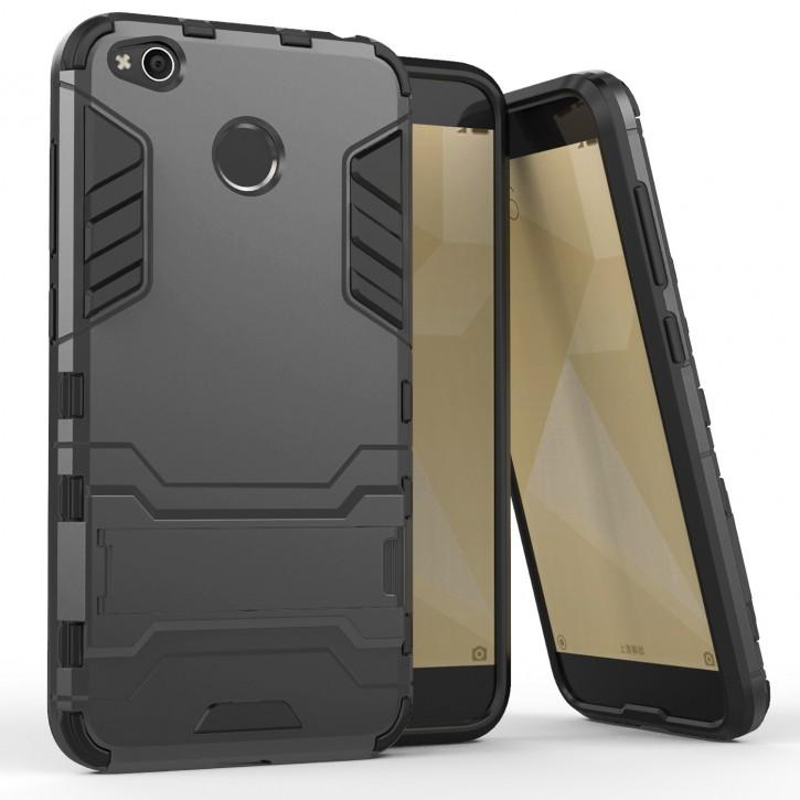 COOVY® Cover für Xiaomi Redmi 4X Bumper Case, Doppelschicht aus Plastik + TPU-Silikon, extra stark, Anti-Shock, Standfunktion
