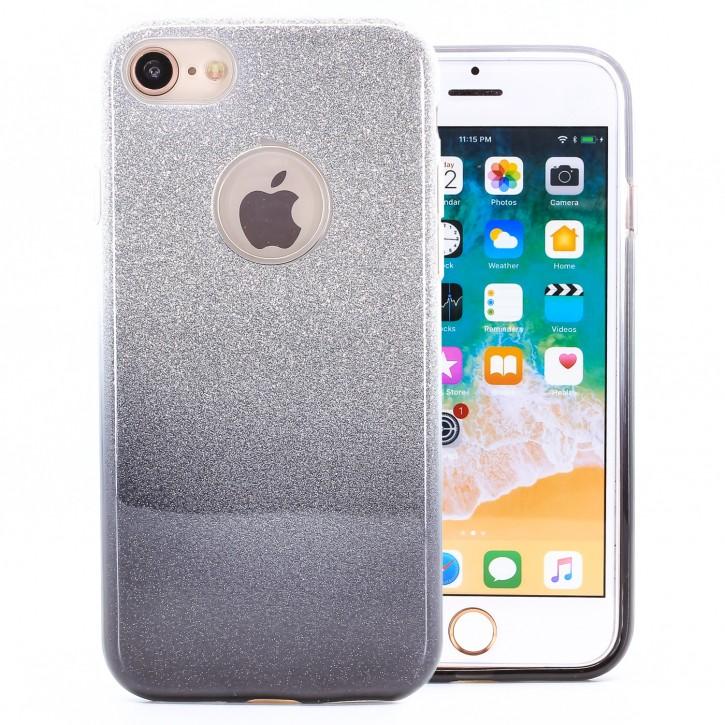 COOVY® Cover für Apple iPhone 7 / 8 leichtes dünnes Bumper Case aus Plastik + TPU-Silikon, schillerndes Glitzer Design