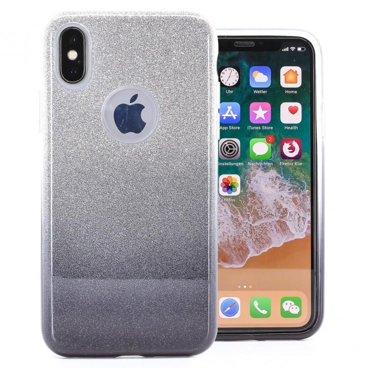 COOVY® Cover für Apple iPhone X / Xs leichtes dünnes Bumper Case aus Plastik + TPU-Silikon, schillerndes Glitzer Design