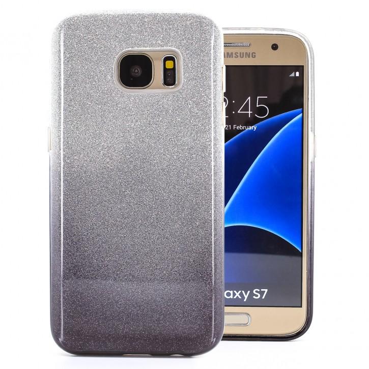 COOVY® Cover für Samsung Galaxy S7 SM-G930F SM-G930 leichtes dünnes Bumper Case aus Plastik + TPU-Silikon, schillerndes Glitzer Design