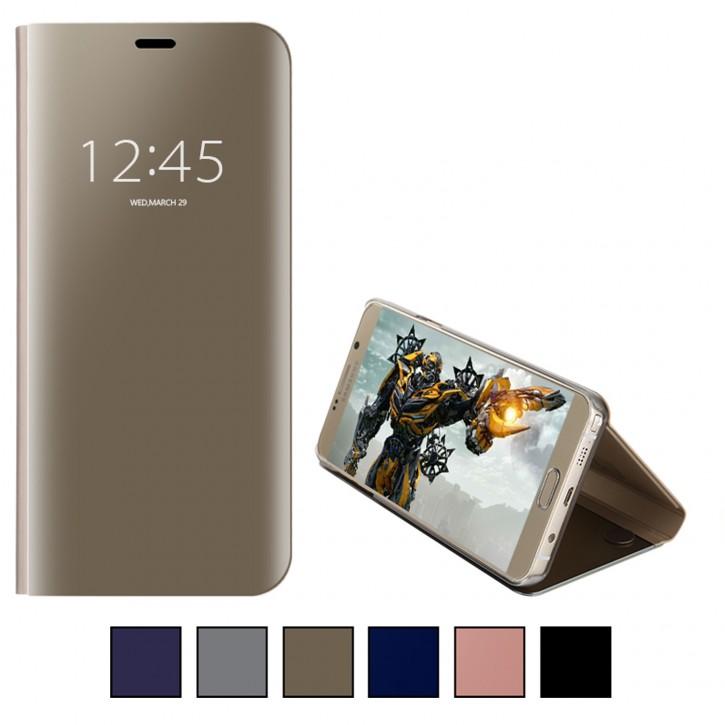 COOVY® Cover für Samsung Galaxy Note 5 SM-N920 / SM-920F Bookstyle Handy Schutzhülle, mit metallic Optik, Clear View Stand Tasche, luxuriöses, durchsichtiges Spiegel Fenster Case, Hülle mit Standfunktion