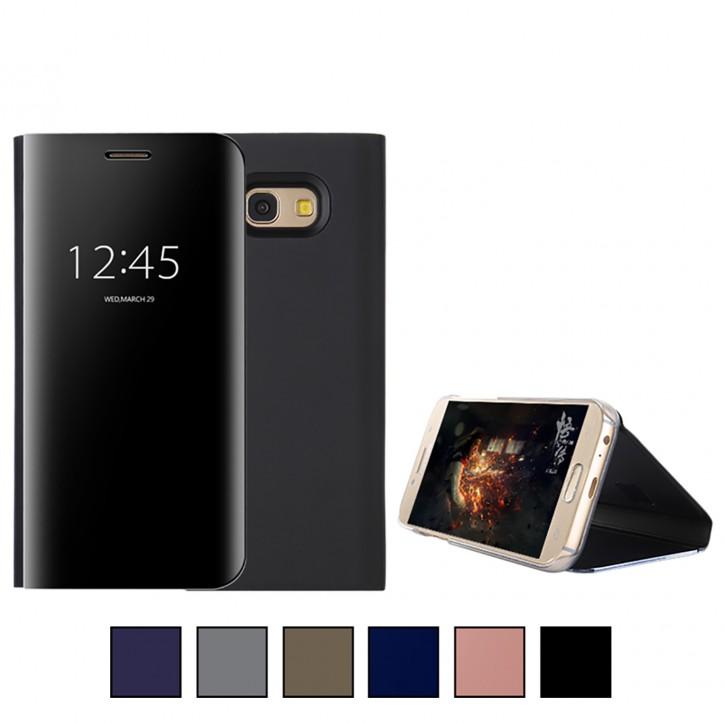 COOVY® Cover für Samsung Galaxy A5 SM-A520 / SM-A520F (Model 2017) Bookstyle, metallic Optik, Clear View, luxuriöses, durchsichtiges Spiegel Fenster Case, Standfunktion