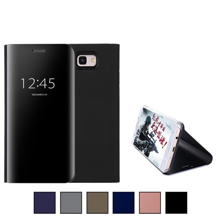 COOVY® Cover für Samsung Galaxy J7 prime SM-G610Y /Duos SM-G610F / DS / On7 Bookstyle, metallic Optik, Clear View, luxuriöses, durchsichtiges Spiegel Fenster Case, Standfunktion