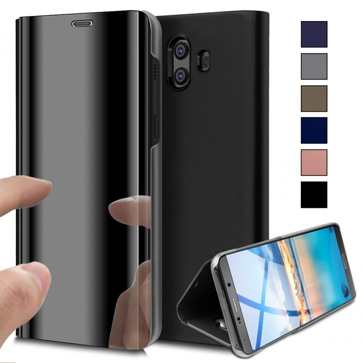 COOVY® Cover für Huawei Mate 10 Bookstyle, metallic Optik, Clear View, luxuriöses, durchsichtiges Spiegel Fenster Case, Standfunktion