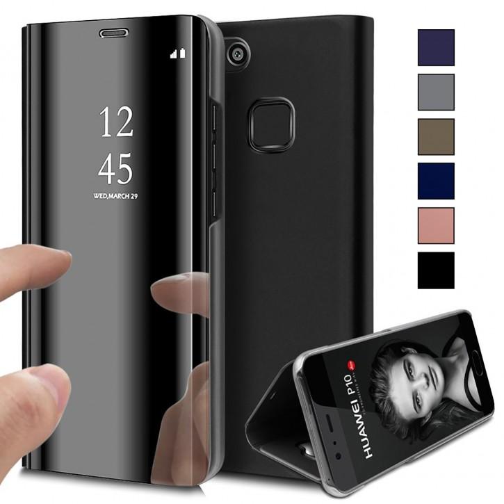 COOVY® Cover für Huawei P10 lite / NOVA lite Bookstyle, metallic Optik, Clear View, luxuriöses, durchsichtiges Spiegel Fenster Case, Standfunktion