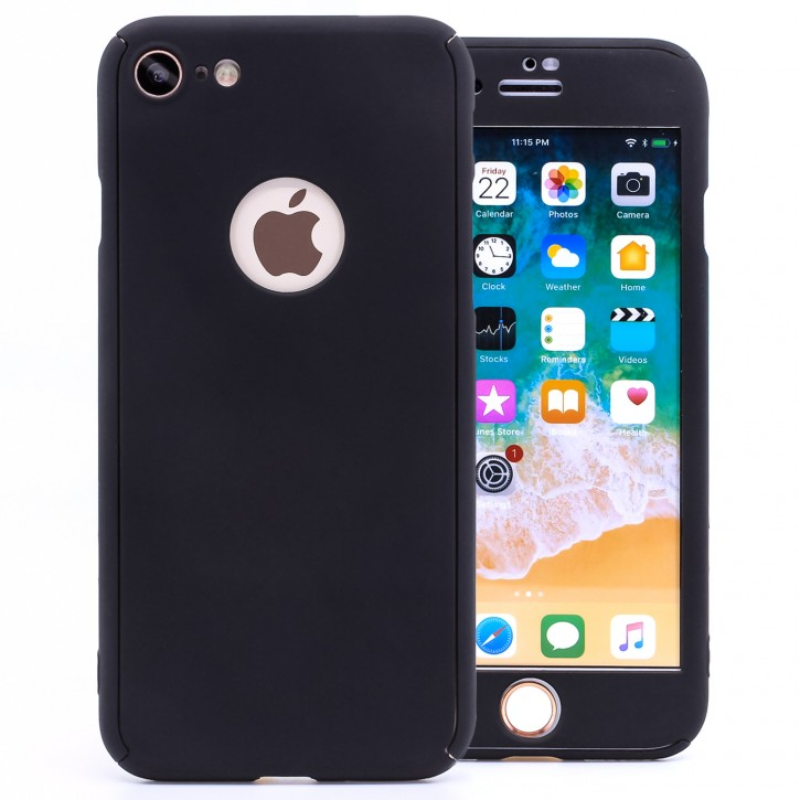 COOVY® Cover für Apple iPhone 7 360 Grad rundum Bumper Case, ultra dünn und leicht, mit Displayschutz, Fullbody-Hülle