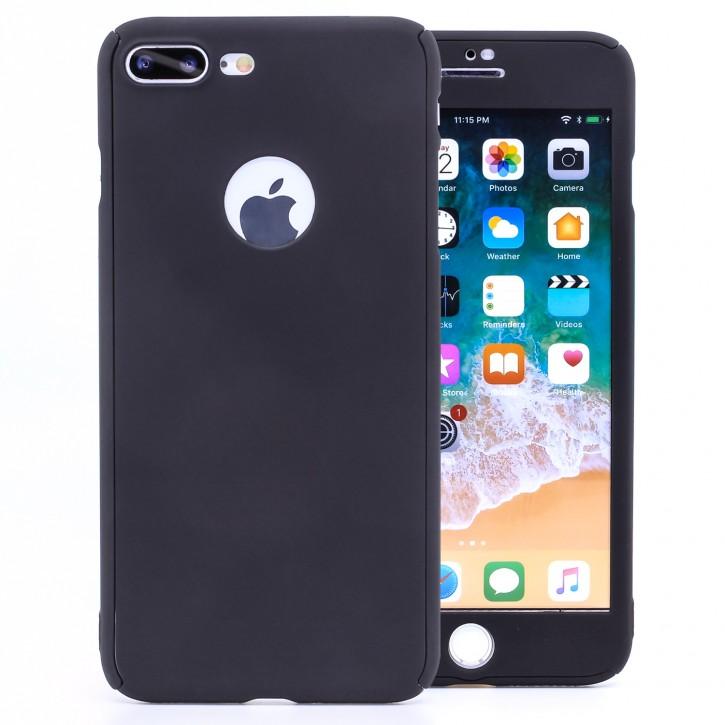 COOVY® Cover für Apple iPhone 7 + plus 360 Grad rundum Bumper Case, ultra dünn und leicht, mit Displayschutz, Fullbody-Hülle