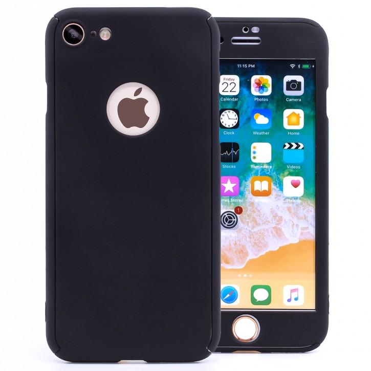 COOVY® Cover für Apple iPhone 8 360 Grad rundum Bumper Case, ultra dünn und leicht, mit Displayschutz, Fullbody-Hülle