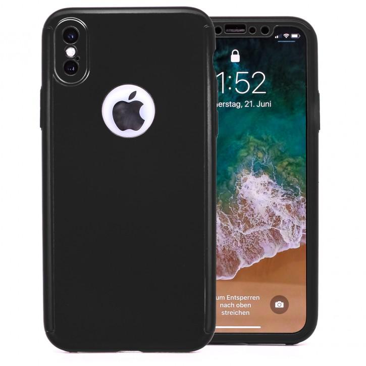 COOVY® Cover für Apple iPhone X / Xs 360° rundum Bumper Case, ultra dünn und leicht, mit Displayschutz, Fullbody-Hülle |