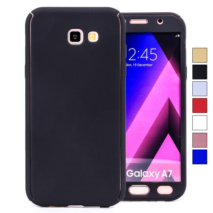 COOVY® Cover für Samsung Galaxy A7 SM-A720 / SM-A720F (Model 2017) 360 Grad rundum Bumper Case, ultra dünn und leicht, mit Displayschutz, Fullbody-Hülle