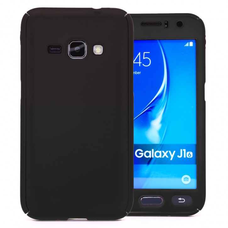 COOVY® Cover für Samsung Galaxy J1 SM-J120 / SM-J120F / SM-J120F/DS (Model 2016) 360 Grad rundum Bumper Case, ultra dünn und leicht, mit Displayschutz, Fullbody-Hülle