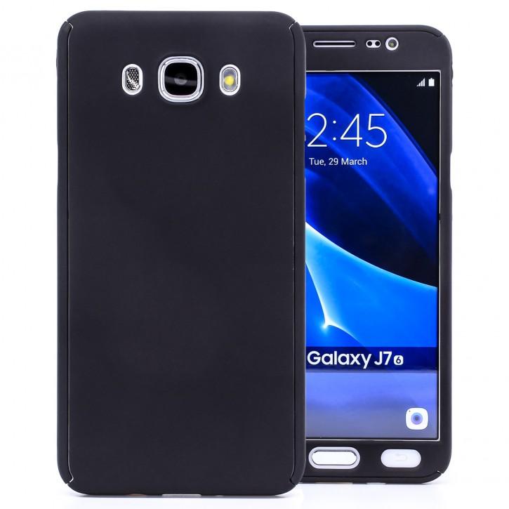 COOVY® Cover für Samsung Galaxy J7 SM-J710 / SM-J710FN / SM-J710F/DS (Model 2016) 360 Grad rundum Schutzhülle, ultra dünnes und leichtes Case, mit Displayschutz, Fullbody-Hülle | Farbe schwarz