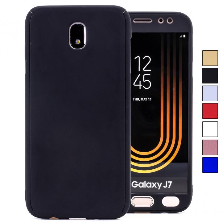COOVY® Cover für Samsung Galaxy J7 SM-J730GM / SM-J730F/DS (Model 2017) / J7 pro  360 Grad rundum Bumper Case, ultra dünn und leicht, mit Displayschutz, Fullbody-Hülle