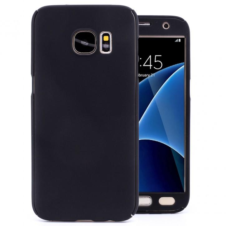 COOVY® Cover für Samsung Galaxy S7 SM-G930F SM-G930 360 Grad rundum Bumper Case, ultra dünn und leicht, mit Displayschutz, Fullbody-Hülle