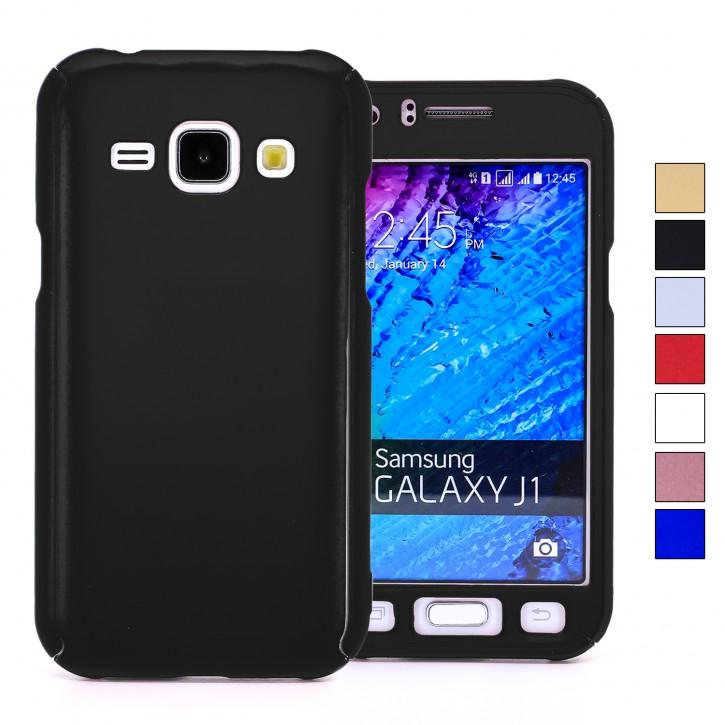 COOVY® Cover für Samsung Galaxy J1 SM-J100 SM-J100F (Model 2015) 360 Grad rundum Bumper Case, ultra dünn und leicht, mit Displayschutz, Fullbody-Hülle