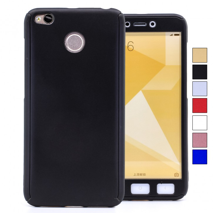 COOVY® Cover für Xiaomi Redmi 4X 360 Grad rundum Bumper Case, ultra dünn und leicht, mit Displayschutz, Fullbody-Hülle