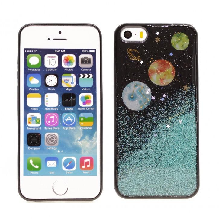 COOVY® Cover für Apple iPhone 5 / 5s / SE dünnes TPU Silikon Bumper Case, Slim, in funkelndem Sonne, Mond und Sterne Glitzer-Design