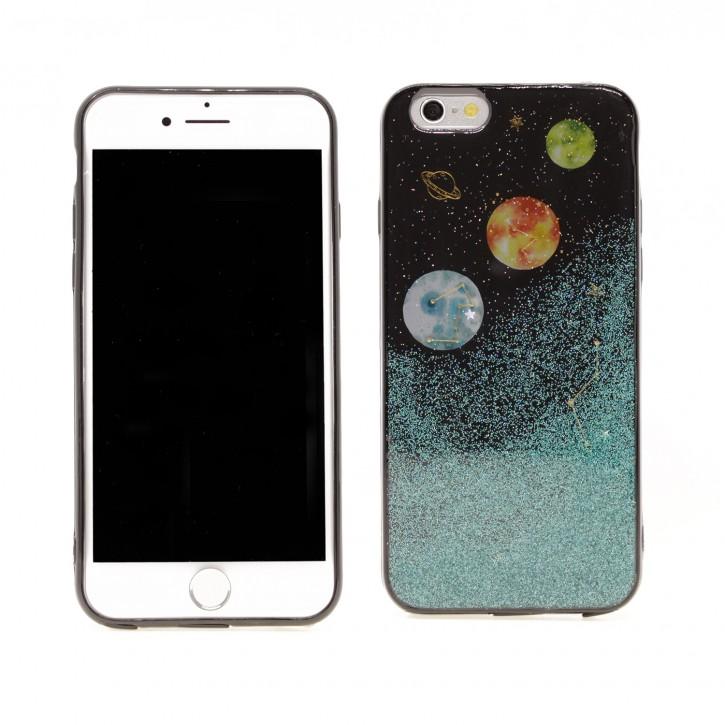 COOVY® Cover für Apple iPhone 6 / 6s dünnes TPU Silikon Bumper Case, Slim, in funkelndem Sonne, Mond und Sterne Glitzer-Design