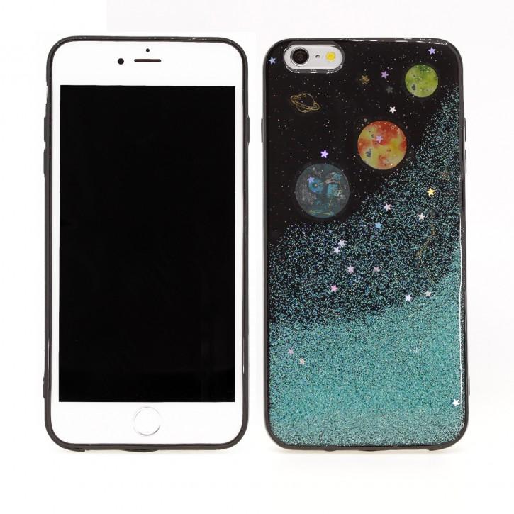 COOVY® Cover für Apple iPhone 6 + plus dünnes TPU Silikon Bumper Case, Slim, in funkelndem Sonne, Mond und Sterne Glitzer-Design