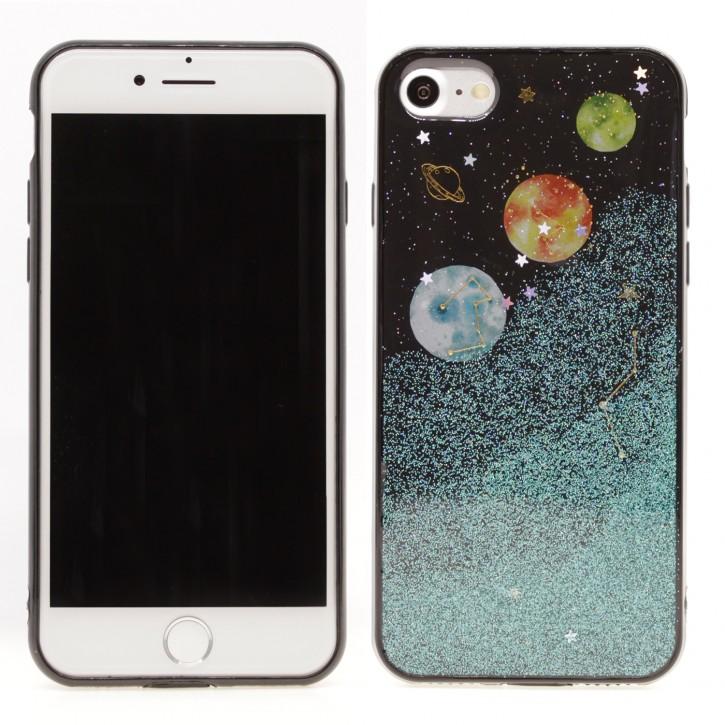 COOVY® Cover für Apple iPhone 7 / 8 dünnes TPU Silikon Bumper Case, Slim, in funkelndem Sonne, Mond und Sterne Glitzer-Design