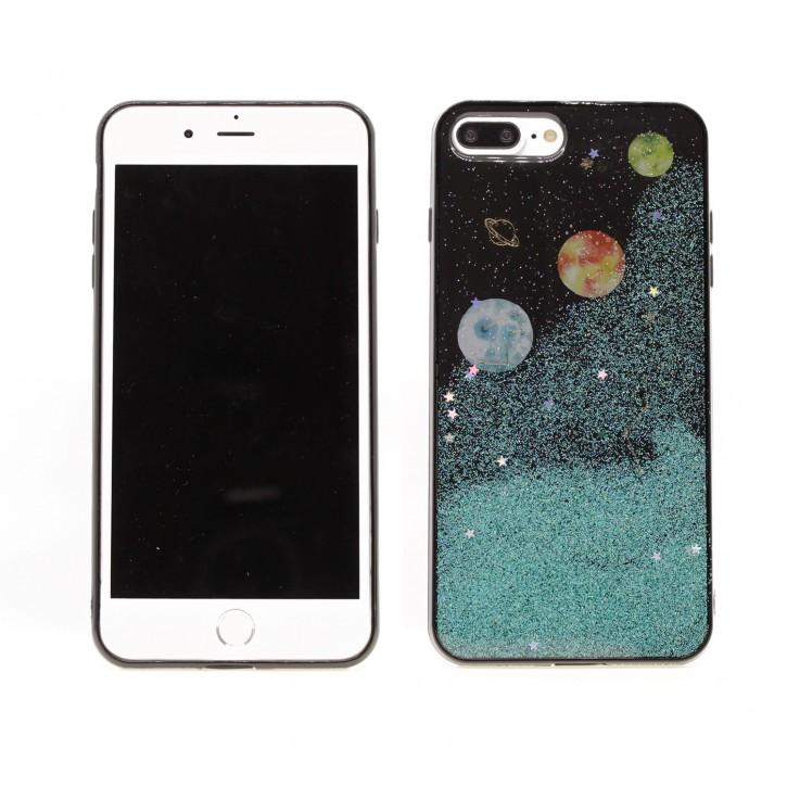 COOVY® Cover für Apple iPhone 7 + plus / 8 + plus dünne TPU Silikon Bumper Hülle, Slim Schutzhülle, Case in funkelndem Sonne, Mond und Sterne Glitzer-Design