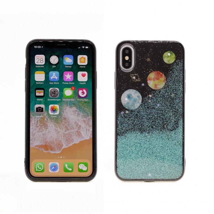 COOVY® Cover für Apple iPhone X / Xs dünnes TPU Silikon Bumper Case, Slim, in funkelndem Sonne, Mond und Sterne Glitzer-Design