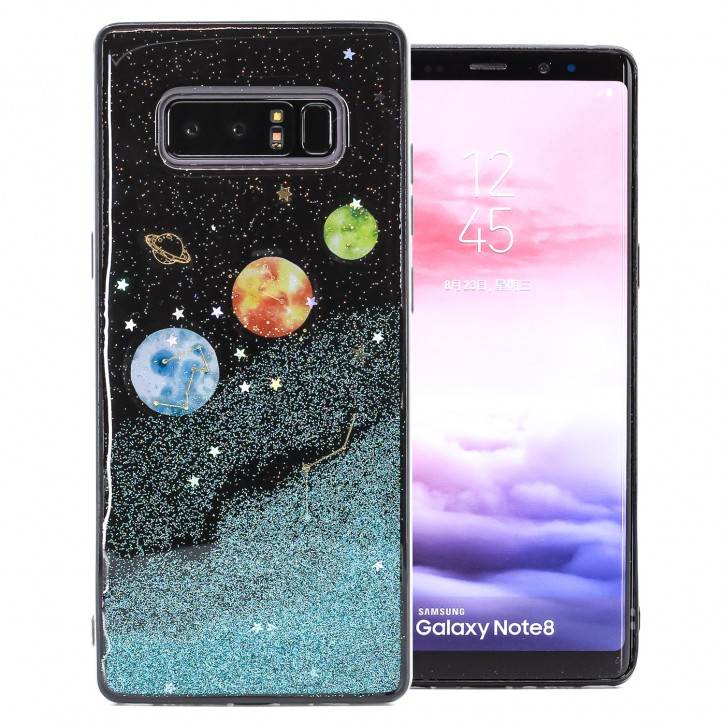 COOVY® Cover für Samsung Galaxy Note 8 SM-N950 / SM-N950F / SM-N950FD dünnes TPU Silikon Bumper Case, Slim, in funkelndem Sonne, Mond und Sterne Glitzer-Design