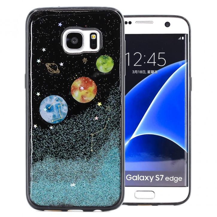 COOVY® Cover für Samsung Galaxy S7 EDGE SM-G935F SM-G935 dünnes TPU Silikon Bumper Case, Slim, in funkelndem Sonne, Mond und Sterne Glitzer-Design