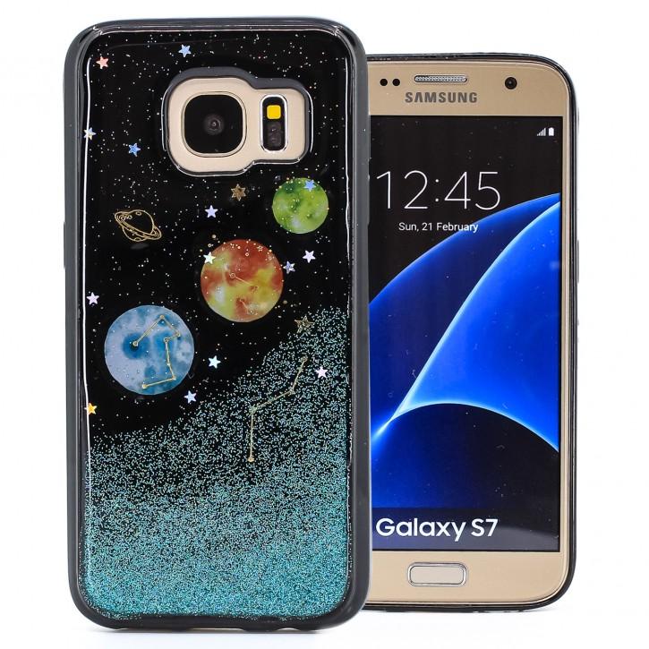 COOVY® Cover für Samsung Galaxy S7 SM-G930F SM-G930 dünnes TPU Silikon Bumper Case, Slim, in funkelndem Sonne, Mond und Sterne Glitzer-Design