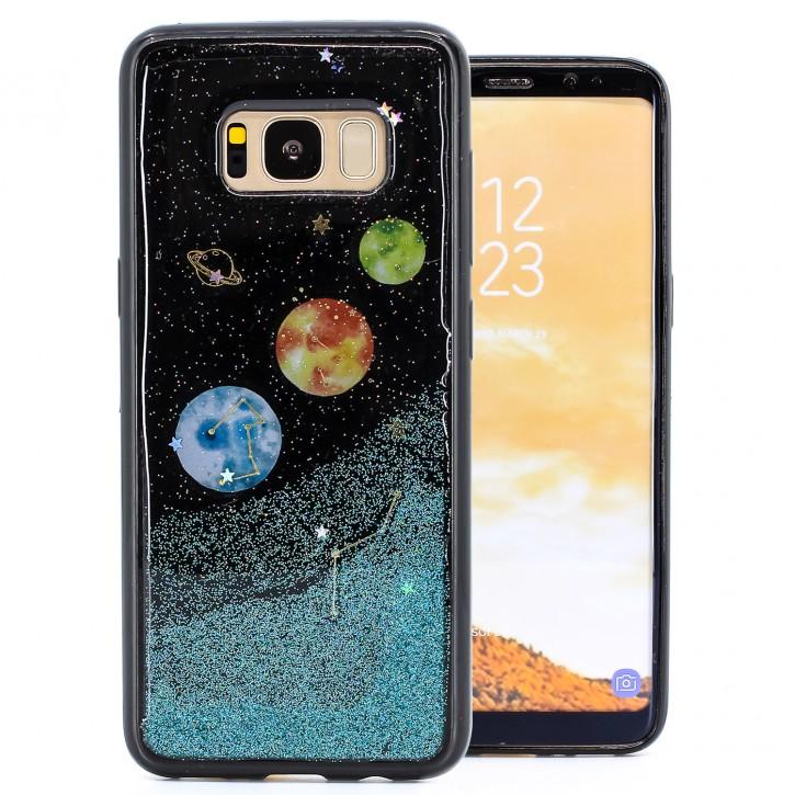 COOVY® Cover für Samsung Galaxy S8 SM-G950F / SM-G950FD dünnes TPU Silikon Bumper Case, Slim, in funkelndem Sonne, Mond und Sterne Glitzer-Design
