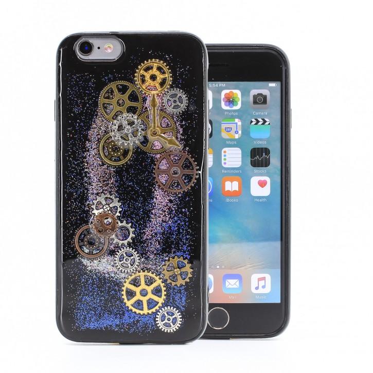 COOVY® Cover für Apple iPhone 6 / 6s dünnes TPU Silikon Bumper Case, Hülle, Slim, Glitzer-Design Case mit Metallzahnrädern |