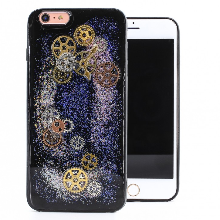 COOVY® Cover für Apple iPhone 6 + plus dünnes TPU Silikon Bumper Case, Slim, Glitzer-Design Case mit Metallzahnrädern