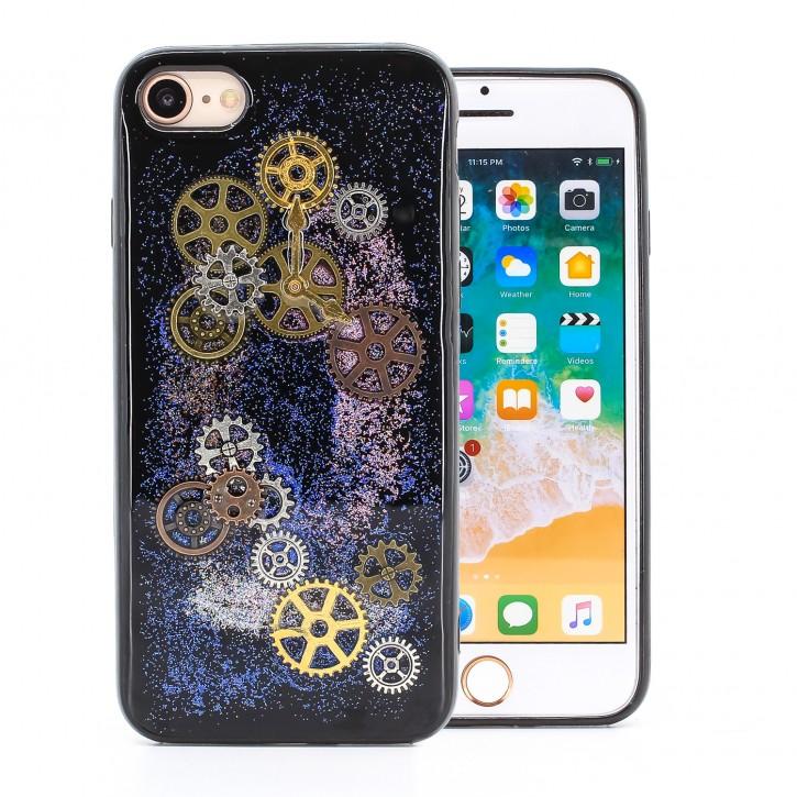 COOVY® Cover für Apple iPhone 7 / 8 dünnes TPU Silikon Bumper Case, Slim, Glitzer-Design Case mit Metallzahnrädern