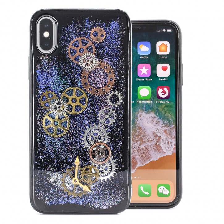 COOVY® Cover für Apple iPhone X / Xs dünnes TPU Silikon Bumper Case, Slim, Glitzer-Design Case mit Metallzahnrädern