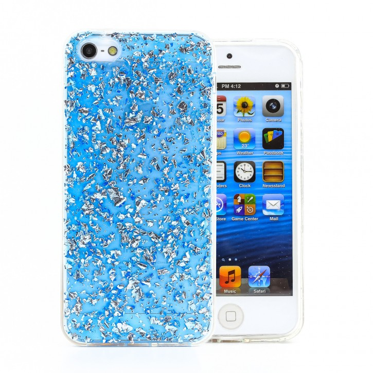 COOVY® Cover für Apple iPhone 5 / 5s / SE dünnes TPU Silikon Bumper Case, Slim, in funkelndem Glitzer-Design