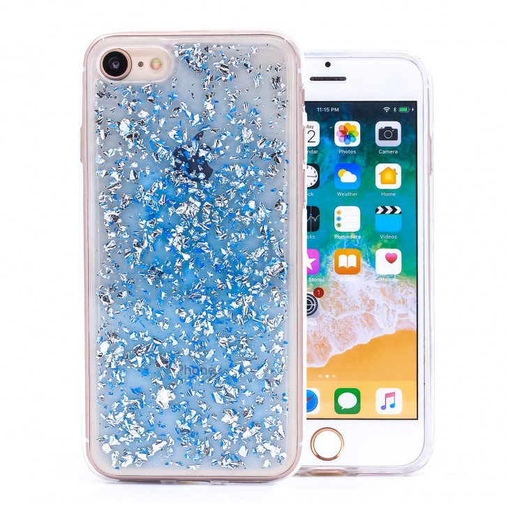 COOVY® Cover für Apple iPhone 7 / 8 dünnes TPU Silikon Bumper Case, Hülle, Slim, in funkelndem Glitzer-Design |