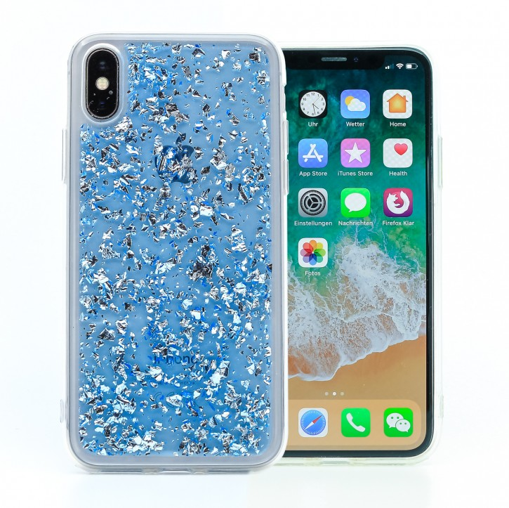 COOVY® Cover für Apple iPhone X / Xs dünnes TPU Silikon Bumper Case, Hülle, Slim, in funkelndem Glitzer-Design |