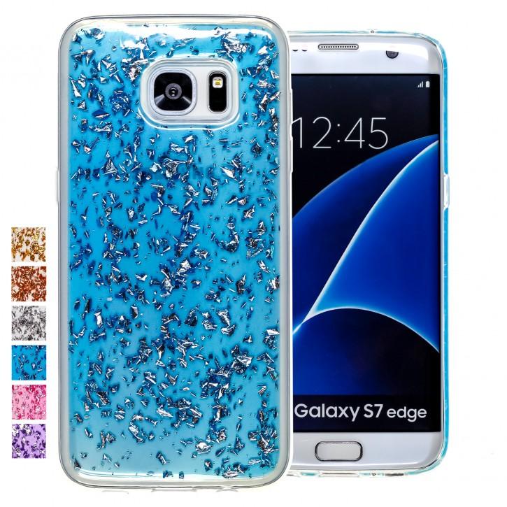 COOVY® Cover für Samsung Galaxy S7 EDGE SM-G935F SM-G935 dünnes TPU Silikon Bumper Case, Slim, in funkelndem Glitzer-Design