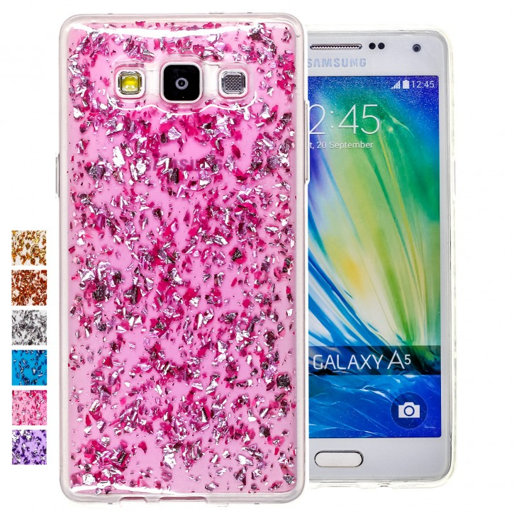 COOVY® Cover für Samsung Galaxy A5 SM-A500 / SM-A500F (Model 2015) dünnes TPU Silikon Bumper Case, Hülle, Slim, in funkelndem Glitzer-Design |