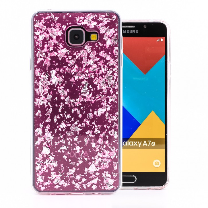 COOVY® Cover für Samsung Galaxy A7 SM-A710 / SM-A710F (Model 2016) dünnes TPU Silikon Bumper Case, Slim, in funkelndem Glitzer-Design
