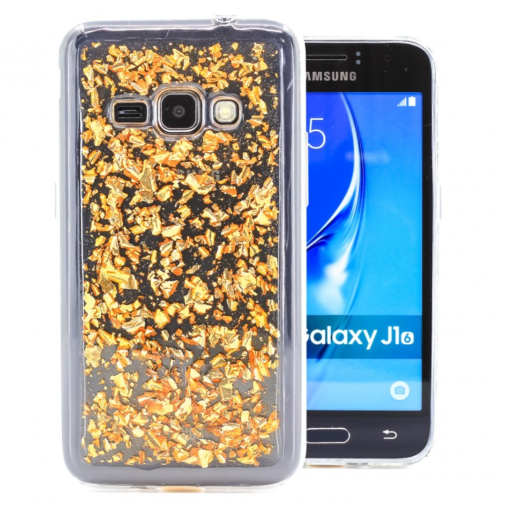 COOVY® Cover für Samsung Galaxy J1 SM-J120 / SM-J120F / SM-J120F/DS (Model 2016) dünnes TPU Silikon Bumper Case, Slim, in funkelndem Glitzer-Design