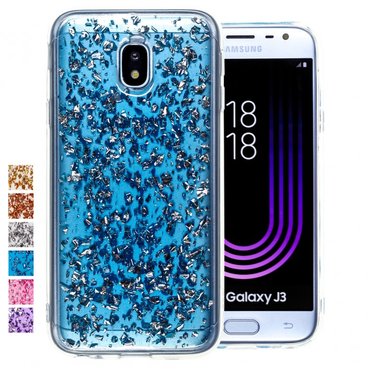 COOVY® Cover für Samsung Galaxy J3 SM-J330G / SM-J330F/DS (Model 2017) / J3 pro dünnes TPU Silikon Bumper Case, Hülle, Slim, in funkelndem Glitzer-Design |
