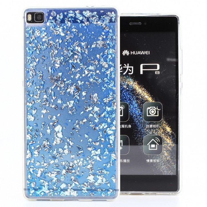 COOVY® Cover für Huawei P8 dünnes TPU Silikon Bumper Case, Slim, in funkelndem Glitzer-Design