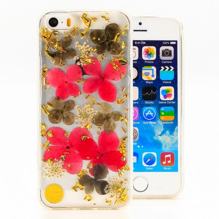 COOVY® Cover für Apple iPhone 5 / 5s / SE dünnes TPU Silikon Bumper Case, Hülle, Slim, Glitzer-Design mit echten getrockneten Blüten |